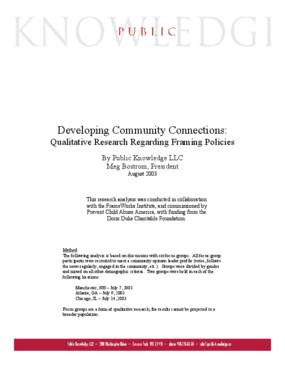 Developing Community Connections: Qualitative Research Regarding Framing Policies