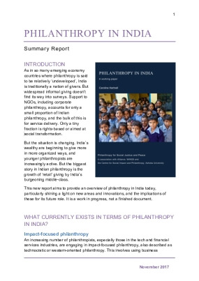 Philanthropy in India Summary